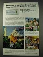 1965 First National City Bank Travelers Checks Ad