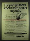 1979 Sheaffer No Nonsense Pens Ad - Easier to Push