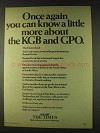 1979 The Times Newspaper Ad - Know About KGB and GPO