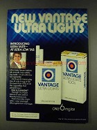 1979 Vantage Ultra Lights Cigarettes Ad