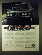 1979 BMW 320i Car Ad - Where Is IT Written