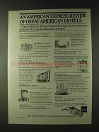 1979 American Express Ad - Review Great American Hotels