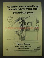 1979 Peter Cook Here Comes the Judge Live Album Ad