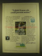 1980 Johnson & Johnson O.B. Tampons Ad - Prevent Stains