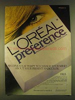 1980 L'Oreal Preference Permanent Crme-in Haircolor Ad