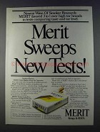 1980 Merit Cigarettes Ad - Sweeps New Tests