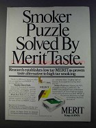 1980 Merit Cigarettes Ad - Smoker Puzzle Solved
