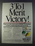 1980 Merit Cigarettes Ad - 3 To 1 Victory