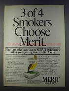 1980 Merit Cigarettes Ad - 3 of 4 Smokers Choose