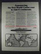1980 Cunard Queen Elizabeth 2 Cruise Ad - World Cruise