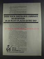 1980 Continental Insurance Ad - Business In Many Places