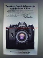 1980 Nikon EM Camera Ad - Virtues of Simplicity