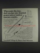 1980 Greenfield Village & Henry Ford Museum Ad