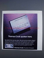 1980 Thomas Cook Travelers Cheques Ad - Spoken Here