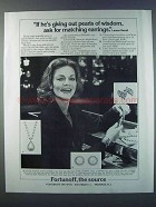 1981 Fortunoff Jewelry Ad - Lauren Bacall - Pearls
