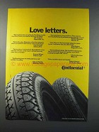 1981 Continental Tires Ad - Love Letters