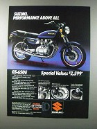 1981 Suzuki GS-650E Motorcycle Ad - Performance