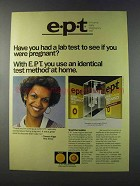 1981 e.p.t. Early pregnancy Test Ad - Had a Lab Test?