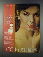 1981 Coty On Glowing Blush Ad - Lasting Plum, Rose