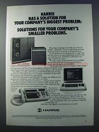 1981 Harris Super-minicomputer, Data Terminal, PBX Ad