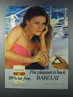 1981 Barclay Cigarettes Ad - Pleasure is Back