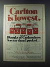 1981 Carlton Cigarettes Ad - Is Lowest