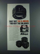 1981 Nikon El-Nikkor Lenses Ad - First Buy