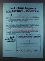 1981 The Savings & Loan Foundation Ad - Real Tax Break