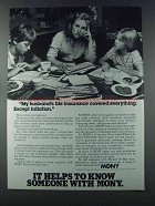 1981 MONY Mutual of New York Ad - Except Inflation