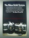 1981 Nikon FE and FM Cameras Ad - The Belief System