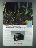 1981 Canon F1 Camera Ad - Iriomote Cat