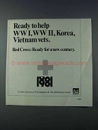1981 Red Cross Ad - Ready to Help WWI WWII Korea Vets