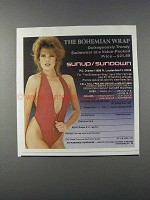 1981 Sunup / Sundown The Bohemian Wrap Swimsuit Ad