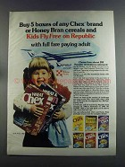 1982 Ralston Chex Cereal Ad - Kids Fly on Republic