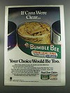 1982 Bumble Bee Tuna Ad - If Cans were Clear