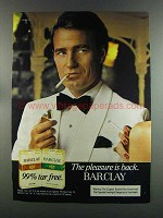 1982 Barclay Cigarettes Advertisement - Pleasure is Back 99% Tar Free