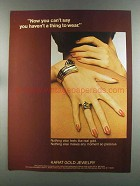 1982 Karat Gold Jewelry Ad - Haven't a Thing to Wear