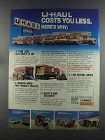 1982 U-Haul Moving & Storage Ad - Costs You Less