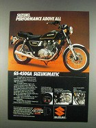 1982 Suzuki GS-450GA Suzimatic Motorcycle Ad