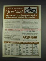 1982 Criterion Insurance Ad - Cycle-Gard Motorcycle