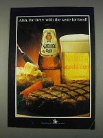 1982 Natural Light Beer Ad - With the Taste for Food