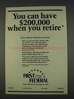1982 First Federal Savings & Loan Ad - When You Retire