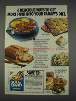 1982 Nabisco 100% Bran Cereal Ad - 6 Delicious Ways