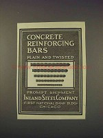 1910 Inland Steel Company Ad - Reinforcing Bars