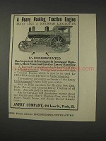 1910 Avery Undermounted Engine Ad - Heavy Hauling