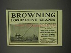 1913 Browning Locomotive Cranes Ad