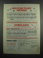 1983 Sno Products Ad - Bolivian Flake Incense