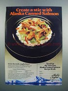 1983 Alaska Seafood Ad - Canned Salmon Stirfry Recipe