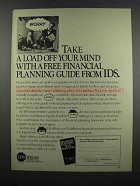 1983 IDS Financial Planning Ad - A Load Off Your Mind