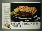 1983 Weight Watchers Lasagna Ad - Never Says Diet